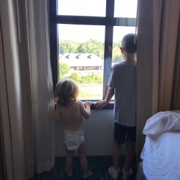 Watching the metro trains from the hotel room
